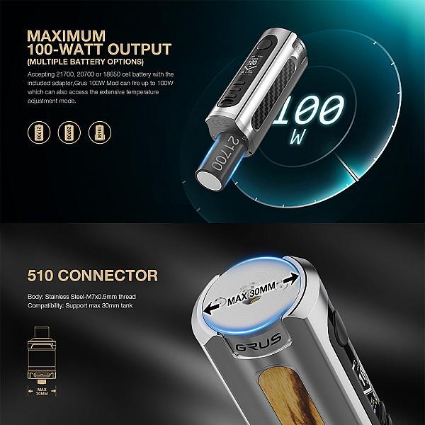 Mod Grus 100W - Lost Vape - Black Carbon Fiber