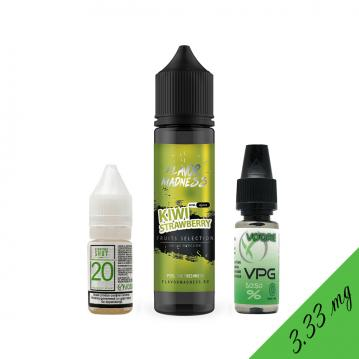 Pachet Lichid Flavor Madness Kiwi Strawberry 40ml + 1 Nicotine Shot 10ml - 20mg/ml - 70VG/30PG + 1 B...