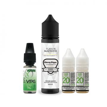Pachet Lichid Flavor Madness Cherry Cigar 30 ml + 2 Nicotine Shot 10ml - 20mg/ml - 50VG/50PG + 1 Baz...