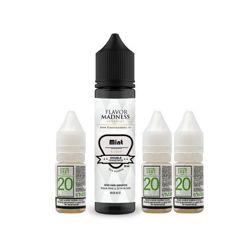 Pachet Lichid Flavor Madness Mint 30 ml + 3 Nicotine Shot 10ml - 20mg/ml - 50VG/50PG