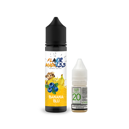 Pachet Lichid Flavor Madness Banana Blu 50ml + 1 Nicotine Shot 10ml - 20mg/ml - 70VG/30PG