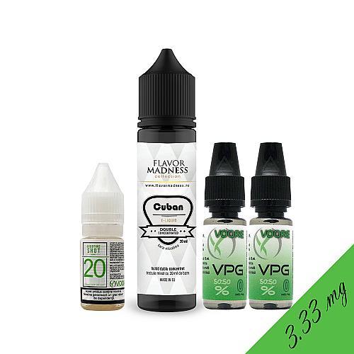 Pachet Lichid Flavor Madness Cuban 30 ml + 1 Nicotine Shot 10ml - 20mg/ml - 50VG/50PG + 2 Baze VPG 10ml