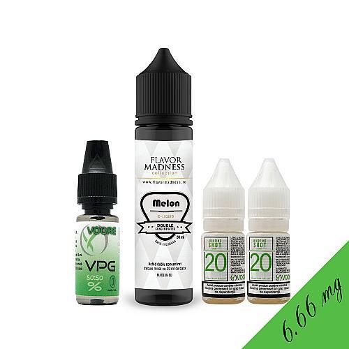 Pachet Lichid Flavor Madness Melon 30 ml + 2 Nicotine Shot 10ml - 20mg/ml - 50VG/50PG + 1 Baza VPG 10ml