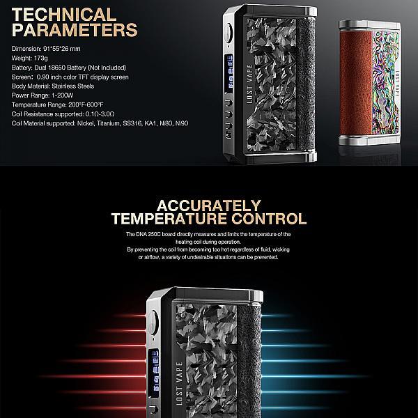Mod Centaurus DNA 250C - Lost Vape (  Limited Stabwood Edition ) - Gunmetal Pearl Fish Stabwood