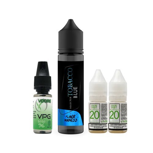 Pachet Lichid Flavor Madness Tobacco Blue 30 ml + 2 Nicotine Shot 10ml - 20mg/ml - 50VG/50PG+ 1 Baza VPG 10ml